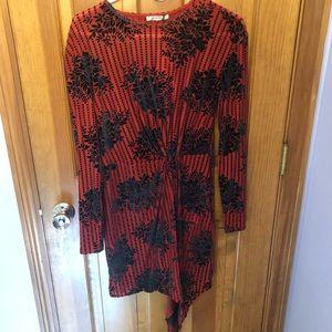Zara Red Long Sleeve Dress NWT
